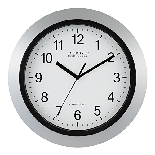 La Crosse Technology WT-3129S 12 Inch Atomic Analog Wall Clock-Silver, 12""