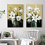 SSHABC Hogar Moderno Pintura de Pared Floral Blanca Flor Arte Decorativo Lirio Blanco Estilo Elegante Lienzo Impreso Póster Decoraciones de pared-45x65cmx2Pcs Sin Marco