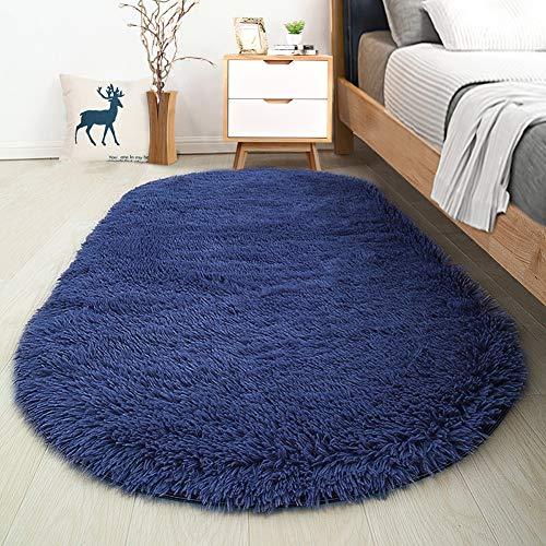 Softlife Fluffy Area Rugs for Bedroom 2.6' x 5.3' Oval Shaggy Floor Carpet Cute Rug for Girls Room Kids Room Living Room Home Decor, Light Navy
