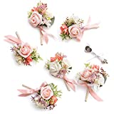 Ling's moment Coral Boutonniere for Men Wedding with Pins, Set of 6, Groom and Best Man Boutonniere...