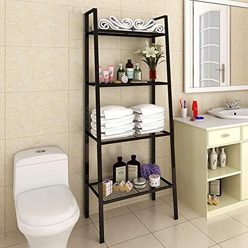 Estantería de metal de 4 niveles, escalera para libros, estante de almacenamiento multiusos, soporte de flores para plantas, soporte de exhibición para oficina en casa, fácil montaje, negro 35x35x148