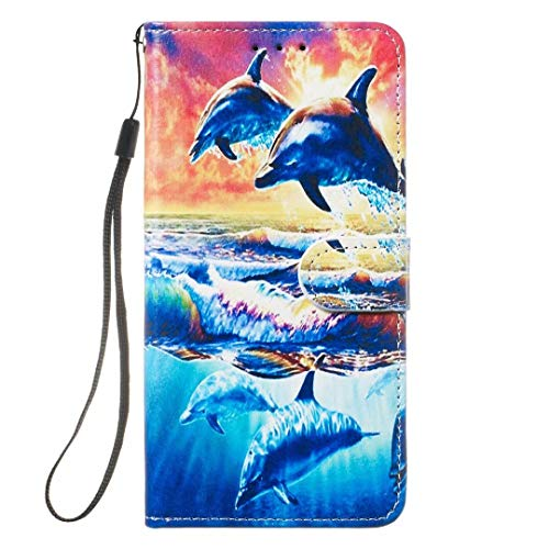 iPhone 12 /iPhone 12 Pro Case, 3D Painted Shockproof Premium PU Leather Flip Slim Notebook Wallet Cover with Card Slot ID Slot Magnetic Stand TPU Bumper Protective for iPhone 12 /iPhone 12 Pro dolphin