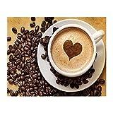 QGHMV DIY Kits de Punto de Cruz Estampado para Principiantes 11ct Corazón de café Bordado de Punto de Aguja Printed Kit de Punto de Cruz para decoración del hogar 16x20 Inch