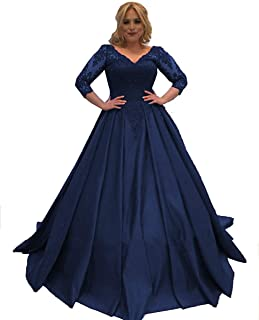 Ding Lace Long Sleeves Prom Dresses V Neck Satin Ball Gown Formal Evening Dress NND028