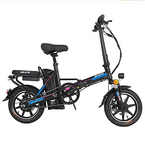 LZMXMYS Bicicleta eléctrica, Bicicleta eléctrica for los Adultos, e Bicicletas Plegables con Gran Capacidad extraíble de Iones de Litio (48V 350W 8Ah) 120 kg Capacidad de Carga (Color : Blue)