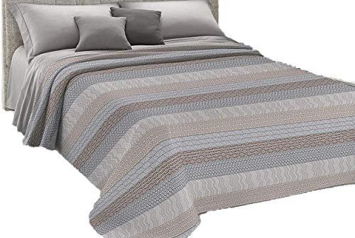 HomeLife couvre-lit pour lit double en piqué [260 x 280], printemps, été, fabriqué en Italie, couvre-lit double en coton jacquard, fantaisie oursons, couette pour lit double légère, 2P, beige