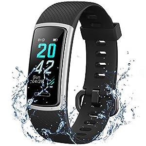 Fitness-Tracker mit Herzfrequenz- und Schlaf-Monitor, Smart-Band, Kalorienzähler, Schrittzähler, Schrittzähler, Walking für Männer und Frauen