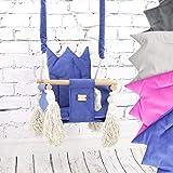 BAMBINIWELT Babyschaukel Babysitz Kinderschaukel Stoff Holz Deckenaufhängung (KRONE blau)