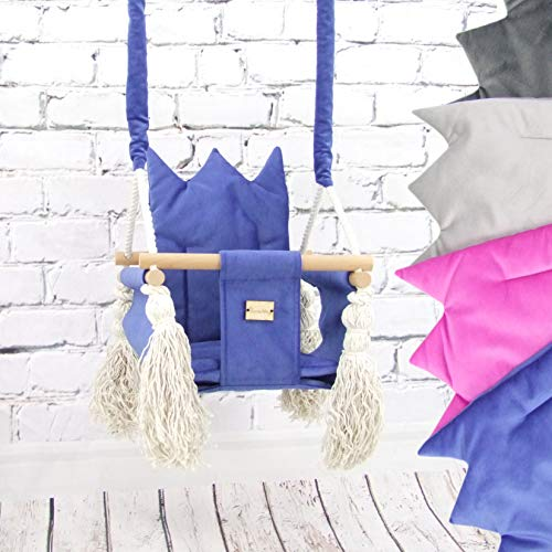 BAMBINIWELT babyschommel babystoel kinderschommel stof hout ophanging KRONE blau