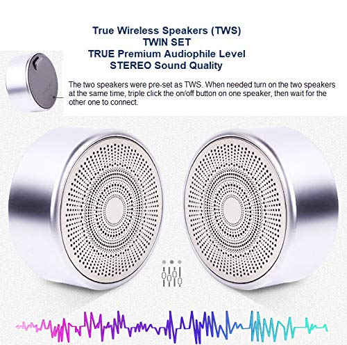 WYNCO 2PK TWS HiFi HD Metal Waterproof Portable Ultra Mini Wireless Bluetooth Speaker, Pro Bass Sound, Stereo Pairing, Durable Design, Underwater Backyard, Outdoors, Travel, Pool, Home Party (Silver)