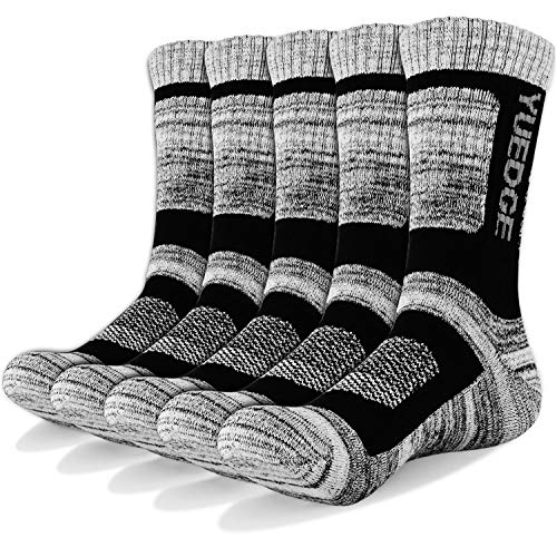 YUEDGE 5 Pairs Men's Athletic Socks Performance Cushion Crew Socks, Moisture Wicking Workout Sports Socks for Outdoor Recreation, Trekking, Climbing, Camping, Hiking, Black, XL (UK Size 9-12)