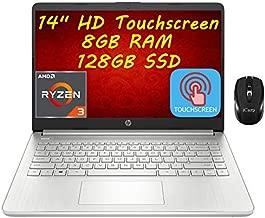 Flagship 2021 HP 14 Laptop Computer 14'' HD Touchscreen Display AMD Ryzen 3 3250U (Beats i7-7600U) 8GB RAM 128GB SSD AMD Radeon Vega 3 USB-C WiFi 6 HDMI HD Webcam Win 10 + iCarp Wireless Mouse