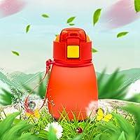 ファッション水カップ魔法瓶カップ ファッショナブルな308ミリリットル食品グレードプラスチック子供かわいいシッピー水ボトル(ピンク) (Color : Red)