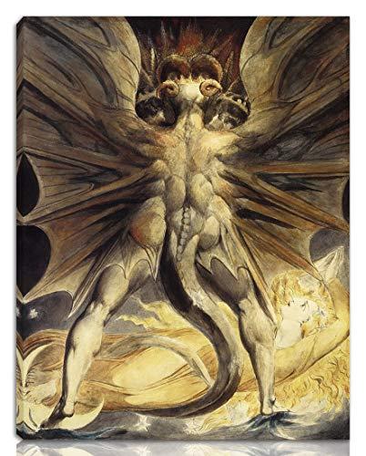 William Blake Gedehnt Giclee Auf Leinwand drucken-Berühmte Gemälde Kunst Poster-Reproduktion Wand Dekoration Fertig zum Aufhängen(Der große rote Drache und die Frau in der Sonne gekleidet)#NK
