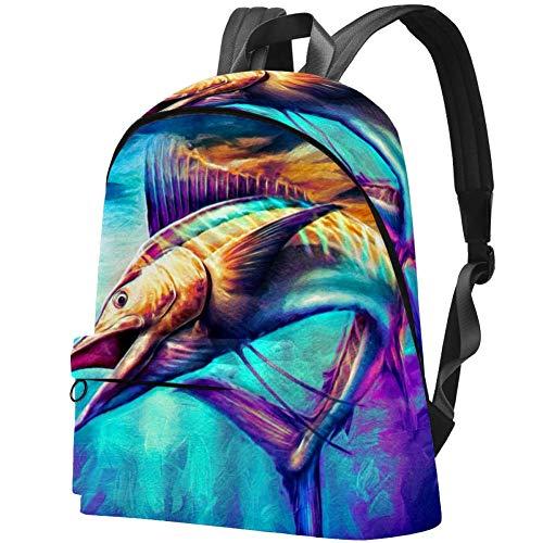 Sailfish Jumping Painting Bag Teens Student Bookbag Leichte Umhängetaschen Reiserucksack Tägliche Rucksäcke