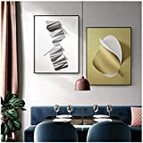 QIAOZ Wall Art ,Abstract Geometric Art Black White Origami Gold Foil Canvas Art Paintings Posters and Prints Wall Poster DecorNo Frame