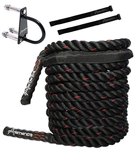 Alementra Sports Premium Battle Rope KIT – Crossfit Training Schwungseil aus 100% Polyester – für effektives Seil Training in 9m/12m/15m in Schwarz 38mm – inkl. Anker und 2 Straps