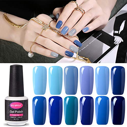Clavuz 12pcs Kit de Esmaltes de Uñas Gel UV LED Semipermanente Serie de Azul Top Coat Base Coat Manicura y Pedicura