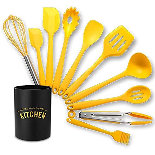LTCTL Juego de utensilios de cocina de 11 piezas Espátula Cuchara de espagueti Cuchara de sopa Batidor de huevos y otros utensilios de cocina con revestimiento antiadherente resistente al ca