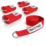 High Pulse® Cintura Yoga (183 x 3,8 cm) - Cinghia Yoga di Alta qualità con Fibbia di Chiusura Come Pratico ausilio per Yoga e Pilates - 100% Cotone (Rosso)