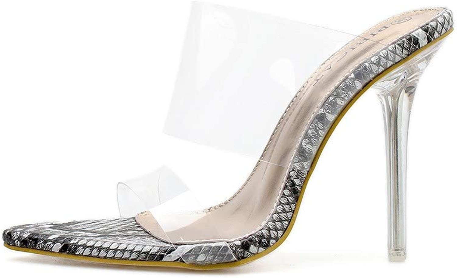 JQfashion Women's high-Heeled shoes Sexy Transparent PVC Pointed Sandals Serpentine Printed Roman shoes