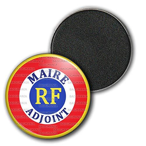 Badgmania Magnet Aimant Frigo 3.8cm Cocarde RF Bleu Blanc Rouge Maire Adjoint Ecriture Bleue