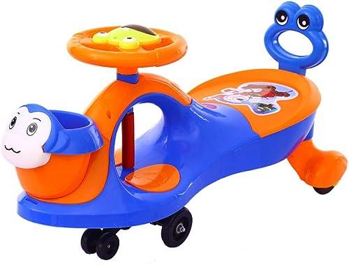 Zhangcaiyun-Toys Spielzeug zum Mitnehmen Kinder Twist Car Swing Auto Mute Rad Baby 1-6 Jahre Alter Roller (Farbe   Blau, Größe   82  32  43CM)