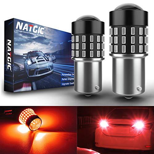 NATGIC 1156 BA15S P21W 7506 Bombillas LED 3014SMD 54-EX Chipsets con proyector de Lentes para Luces traseras Luces de Freno, Rojo 12-24 V (Paquete de 2)