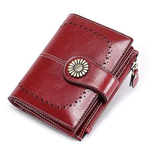 Warm Home Ms. portemonnee korte paragraaf Koreaanse olie wax lederen portemonnee mode hasp rits tas rode kaart Nice