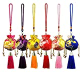 6pcs Chinese Sachet Silk Brocade Coin Bags Pouches with Drawstring Jewelry Gift Bag Candy Sachet Pouch Small Chinese Embroidered Organizers Pocket for Women Girls Dice Necklaces Earrings Bracelets