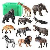 HomeDecTime 11 Unids / Set Mini de Animales Salvajes Juguete Acción Hyena Cocodrilo Juguete con Caja