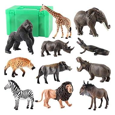 shamjina 11pcs/Set Mini Wild Animals Statue Toy Giraffe Collection Toy for Kids