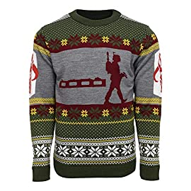 Numskull Unisex Official Star Wars Boba Fett Knitted Christmas Jumper for Men or Women - Ugly Novelty Sweater Gift Green 7 Official Star Wars Product Available in 8 sizes - (2XS, XS, S, M, L, XL, 2XL, 3XL,) Features Boba Fett silhouette and arm details