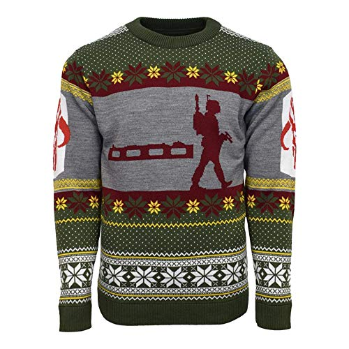 Numskull Unisex Official Star Wars Boba Fett Knitted Christmas Jumper for Men or Women - Ugly Novelty Sweater Gift Green