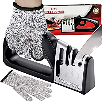 Swongar 4-Stage Pro Kitchen Chef Knife and Scissors Sharpener with Glove