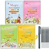Larcenciel Cahier de pratique magique coulé, Magic Lot de 4 livres de pratique pour enfants – Livre de pratique d'écriture réutilisable(4 livres avec stylo)