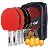 Sportneer Table Tennis Set, 4 Pro Premium Ping Pong Paddles Wooden with 6 Balls, Portable Ping Pong...