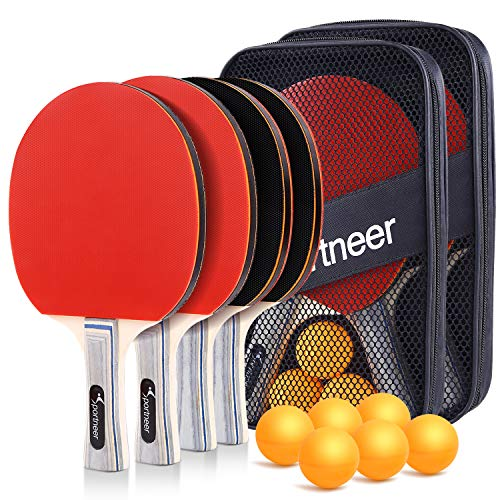 Sportneer Table Tennis Set, 4 Pro Premium Ping Pong Paddles Wooden with 6 Balls, Portable Ping Pong Paddle Set with 2 Storage Case, Ideal for Advanced Home Team Indoor or Outdoor Play