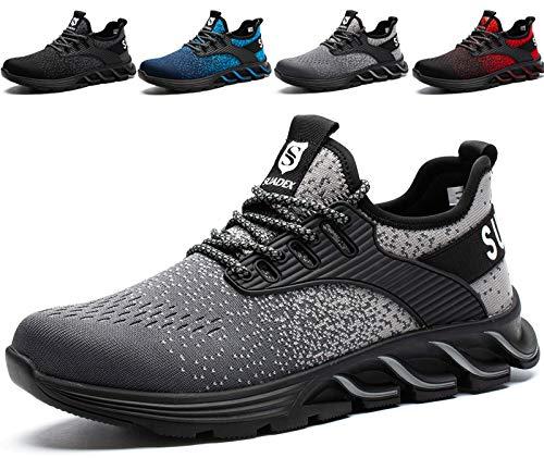 SUADEX Zapatos de Seguridad con Punta de Acero para Hombre Mujer - Cómodos Ligeros y Transpirables Gris 37EU