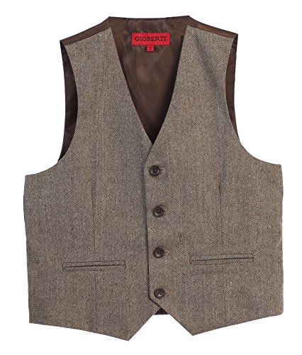 Gioberti Boy's Tweed Plaid Formal Suit Vest, Herringbone Tan, Size 8