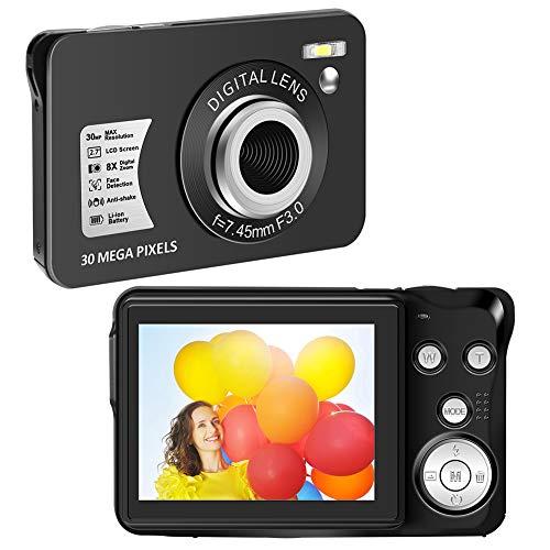 Camara de Fotos Camaras de Fotos Digital 1080P 30 MP Cámara Compacta 8X Zoom Digital Camara de Fotos Digital Compacta con Pantalla LCD de 2,7 Pulgadas para Principiantes