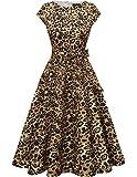 DRESSTELLS Damen a Linie Casual Kleid festlich Petticoat Kleid Damen Moderne Kleid Audrey Hepburn Kleider midilang Yellow Leopard XS