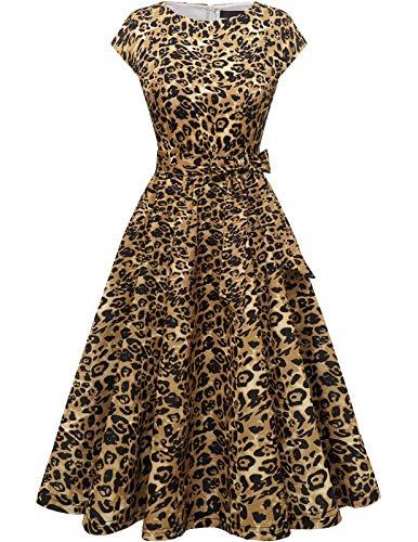 DRESSTELLS Damen 1950er Vintage Retro Rockabilly Petticoat Kleid Festliches Partykleider Cocktailkleid Midilang Yellow Leopard L