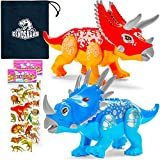 2-Pack Large Dinosaur Building Blocks - Jurassic Dinosaur Toys for Kids 5-7 Boys & Girls - Triceratops Family - Pentaceratops & Styracosaurus - with Storage Bag and Sticker Sheets!