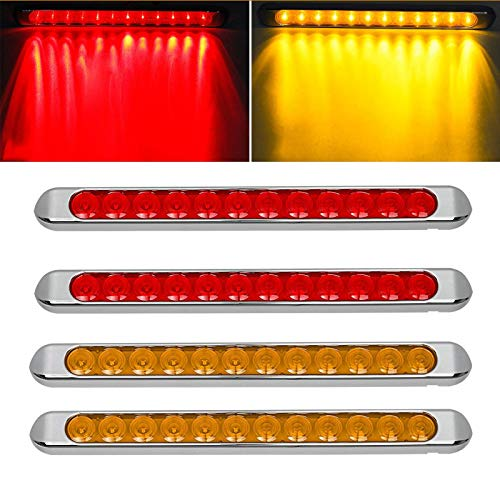 "Partsam 4pcs 17"" Inch Led Trailer Light Bar 12LED Stop Turn Signal Tail Brake Truck Chrome Thin LED Trailer Tail Light Bar Parking Clearance Identification Marker Light Strip DOT Compliant Waterproof"