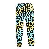 QUEMIN Estampado de Leopardo Azul Dorado Hombres Cool Joggers Pantalones Casuales Pantalones Deportivos L