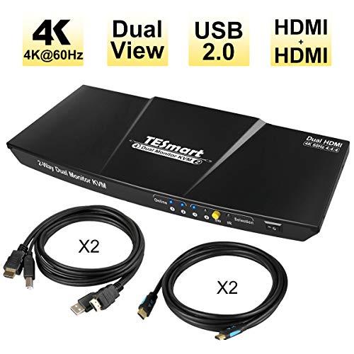 TESmart Dual-Monitor 2-Port KVM-Switch, 2x2 HDMI + HDMI KVM-Switch 4K 60Hz UHD mit 2 Stück 1,5m HDMI KVM Kabel, Audioausgang und USB-Freigabe