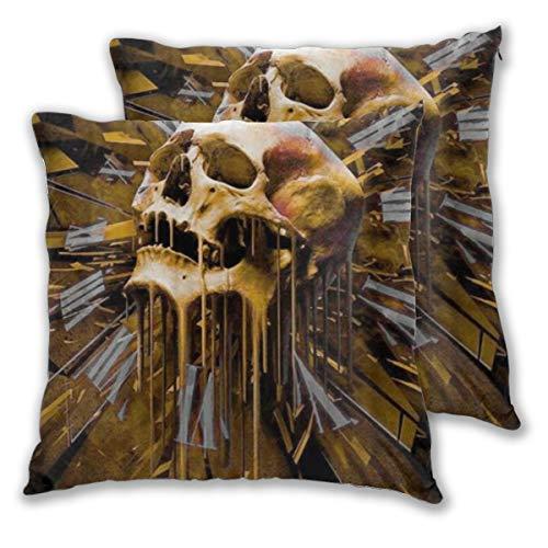YUDILINSA Funda de Cojín Suave,Cráneo Reloj Horror,Funda de Almohada Cuadrado para Sofá Cama Decoración para Hogar 45x45cm,Set de 2