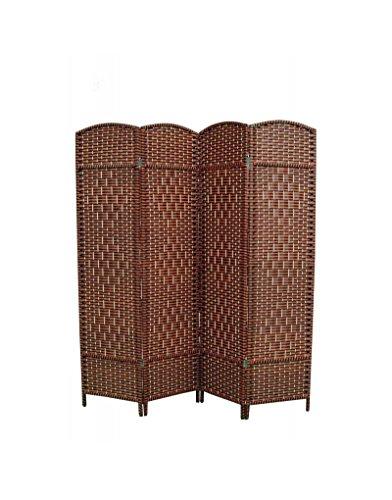 Biombo Separadaor 4 Paneles, Bambú Natural y Papel Trenzado, Negro/Cerezo. para Salon/dormorio. 180x180 cm. Hogar y Más