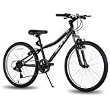 Hiland Climber 24 Inch Children Mountain Bike with Suspension Fork V Brake Bicycle Black